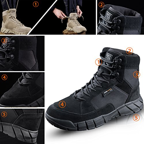 FREE SOLDIER Men's Tactical Boots 6'' inch Lightweight Military Boots for Hiking Work Boots Breathable Desert Boots (Black, 11.5) by FREE SOLDIER (Image #3)