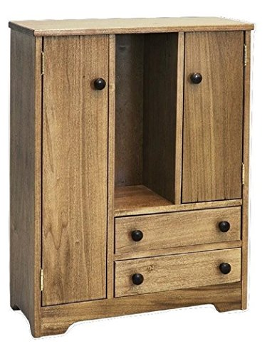 12''-18 Inch Doll DELUXE Storage Wardrobe Armoire USA Handmade Poplar Wood Furniture, Natural Finish by Clip Clop