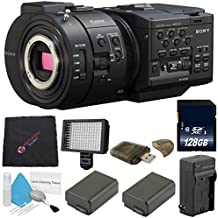 Sony NEX-FS700R Super 35 Camcorder NEX-FS700/R + NP-F970 Rechargeable Lithium Ion Battery + Charger Kit for Sony NP-F970 + 128GB SDXC Class 10 Memory Card Bundle