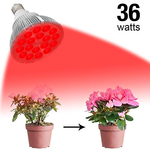 FAMURS 36W LED Grow Light Bulb with Deep Red 660nm Grow Lamp for Indoor Plants Flowering, Bloom