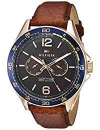 Tommy Hilfiger Men's 'Sophisticated Sport' Quartz Resin and Leather Casual Watch, Color:Brown (Model: 1791367)