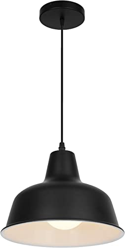 Black Industrial Pendant Lights Retro Farmhouse Hanging Ceiling Light Fixtures for Kitchen Island Bedroom Living Room Foyer Black in One