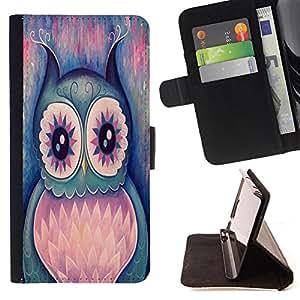 - Owl Owls Cute Chevron Aztec - - Monedero PU titular de la tarjeta de cr?dito de cuero cubierta de la caja de la bolsa FOR Apple Iphone 4 / 4S Retro Candy