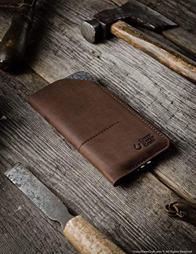 Leather iPhone Xs Max case/sleeve, with card pocket   Wood Brown, handmade, vintage, genuine Crazy Horse leather phone wallet, 100% wool felt, iPhone 8 plus, iPhone 7+/6+ cover, Crazy Horse Craft (Crazy Felt)