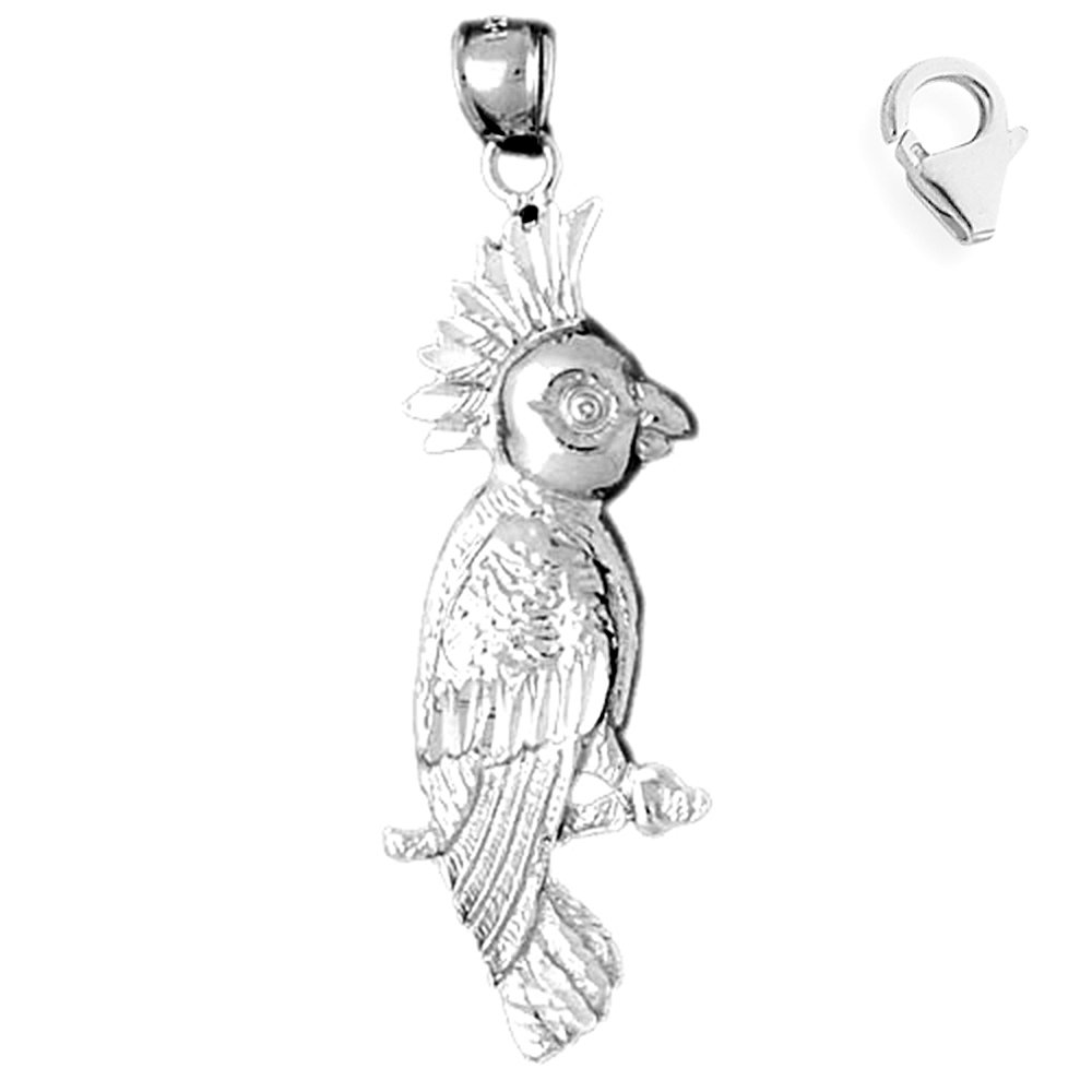 JewelsObsession Sterling Silver 56mm Cockateel Bird Charm w//Lobster Clasp