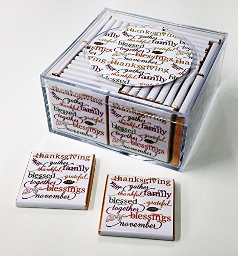 Thanksgiving Favors. Keepsake Box of 36 Belgian Chocolates for Your Thanksgiving Celebration (Design: Thanksgiving Words) (Thanksgiving Favors)