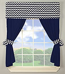 Baby Doll Bedding Chevron Window Valance and Curtain Set, Navy