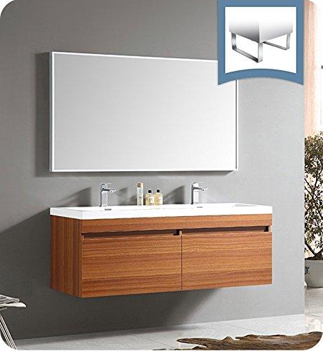 "Senza 56.5"" Largo Modern Bathroom Vanity Set with Wavy Double Sinks Base Finish: Teak"