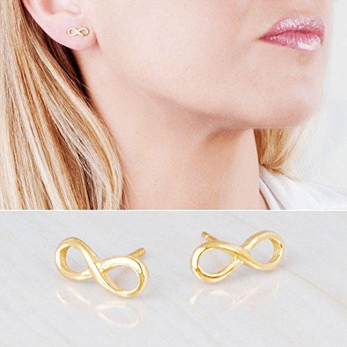 Designer Gold Stud - Tiny Gold Infinity Stud Earrings - Designer Handmade Small Delicate Post Earring