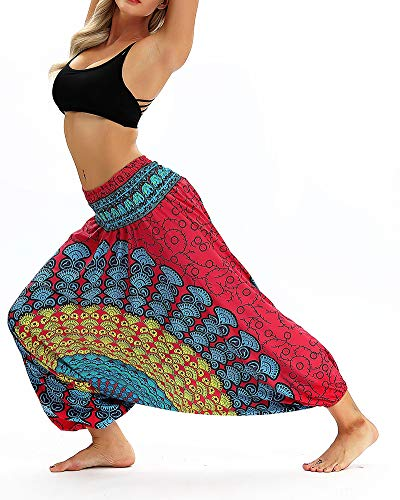 Pantaloni Vita Stampa Etnici Baggy Retro Sottile Pants Boho 048 Aladdin Elastica Harem Donna Lino Cotone Hippie nIF4qW