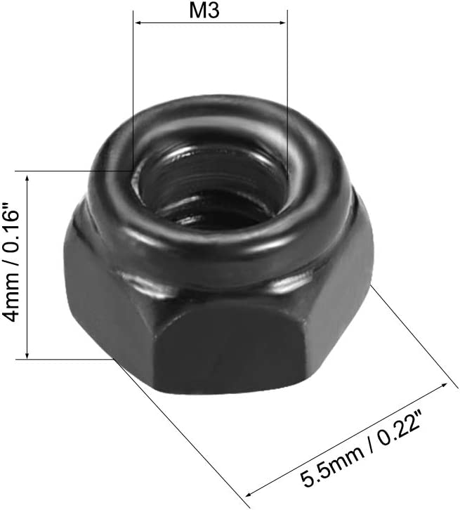 Pack of 50 uxcell M3 x 0.5mm Nylon Insert Hex Lock Nuts Carbon Steel Black Zinc Plated