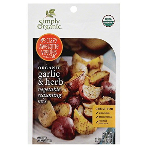 Simply Organic Crazy Awesome Veggies Seasoning Mix, Garlic and Herb, 0.71 Ounce (Pack of 12) by Simply Organic