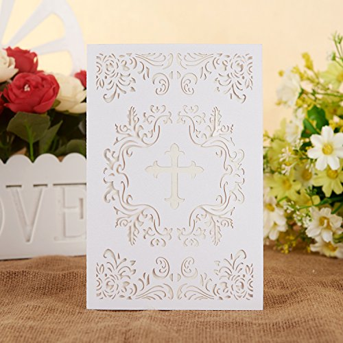 Baptism Christening Invitations with Envelopes, 25pcs 4.7 x 7 Religious Cross Cards with White Inside Paper for Christening Celebration, Religious Ceremony, Christian Dedication,Baby Shower (White) ()