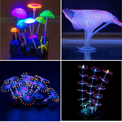 Yuxier Aquarium decor Glowing Mushroom glowing Coral Ornament for Fish Tank (4 pieces)