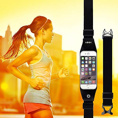 AOOK Running Belt Waist Pack, Zipper Design/Transparent Touch Screen Window/Headphone Jack Fit for iPhone Xs Max, XR, XS/X, 8/7/6s Plus, 8/7/6/SE, Samsung Galaxy S10/S9/S8 Plus/No (5.5inch - Jack Samsung Fits