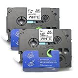 "Unismar 2 Pack Compatible TZe-251 TZe251 TZ-251 TZ251 Laminated Tape Black on White 24mm (1"") Width 8m (26.2ft) Length for Brother P-Touch Label Makers & Printers (US-TZe251 2PK)"
