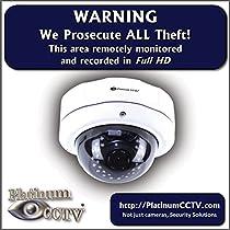 2 Pack of Platinum CCTV Surveillance 4 Video Recording Stickers Full HD