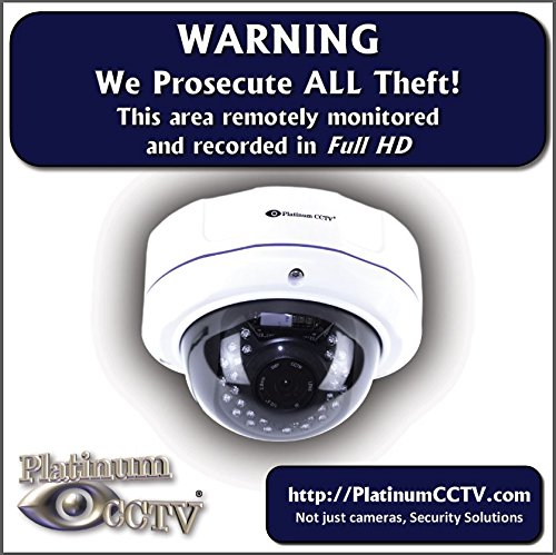 2 Pack of Platinum CCTV Surveillance 4″ Video Recording Stickers Full HD