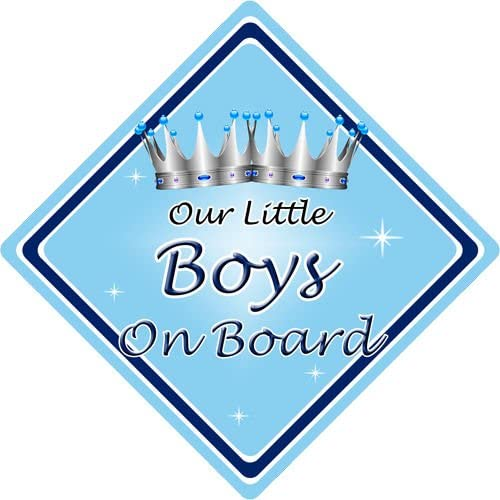 Non Personalised Child//Baby On Board Car Sign ~ Our Little Boys On Board ~L.Blue