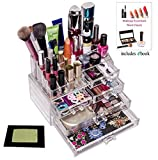 Perfect Storage Solutions -Best Selling Model Enhanced! Premium Quality Large Capacity Acrylic Makeup, Jewelry & Cosmetic Organizer.