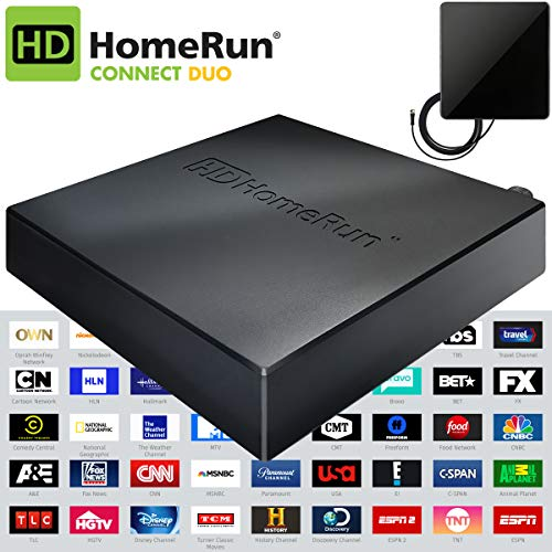 SiliconDust HDHomeRun Connect Duo 2 (HDHR5-2US) Bonus Includes Indoor Flat 4K HDTV Multi-Directional Antenna