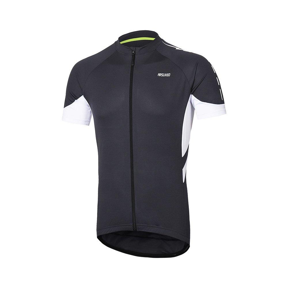 Arsuxeoメンズ半袖サイクリングジャージー自転車MTBバイクシャツ636 B07C7HQ7S2 US M|ダークグレー ダークグレー US M