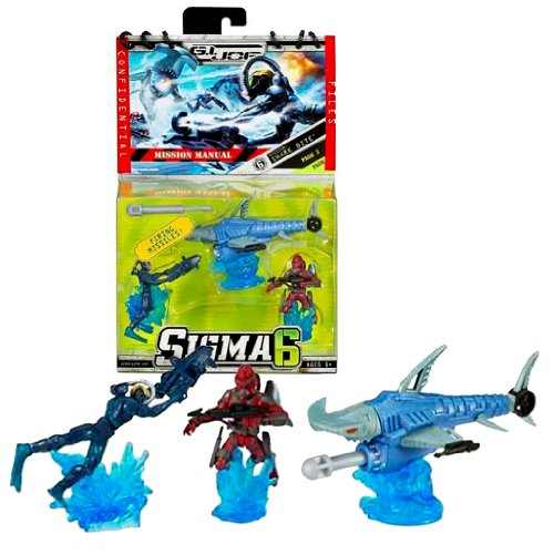 Hasbro Year 2006 G.I. JOE Sigma 6 Mission Manual Series 3 Inch Tall Action Figure - SHARK BITE with DUKE, COBRA EEL and SHARK B.A.T. with Missile Launcher and 1 Missile ()