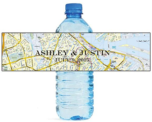 100 Street Map Wedding Travel Theme Party Water Bottle Labels - Water Theme