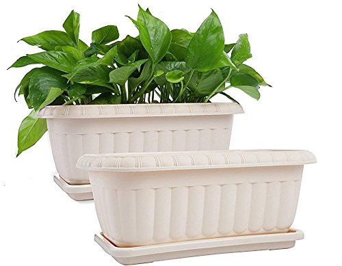 Mkono 2 Pack Rectangular Planter Window Box 15 Inches Plastic Garden Pot with Saucers, Beige ()