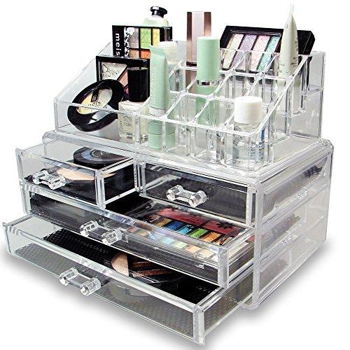MuchBuy Acrylic Jewelry & Cosmetic Storage Display Boxes Organizer 3 Drawer Set