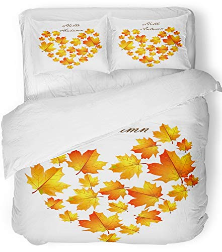 Emvency 3 Piece Duvet Cover Set Breathable Brushed Microfiber Fabric Orange Autumn Leaves Hello Heart of Yellowed Gold Maple Leaf on White Brown Bedding Set with 2 Pillow Covers King Size - Brushed Gold Leaf