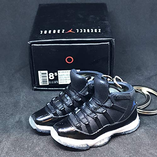 Pair Air Jordan XI 11 Retro High Space Jam Black Blue OG Sneakers Shoes 3D Keychain 1:6 Figure + Shoe Box (Authentic Jordan 11 Space Jam For Sale)
