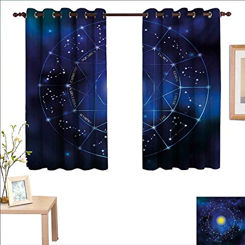 Constellation Blackout Draperies for Bedroom Collection of Zodiac Signs in a Geometric Circle Horoscopes Sun 55