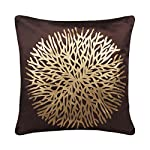 Freely Coffee Color Gold Print Flower Velvet Cushion Cover (16X16 Inches) – Pack of 5