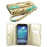 JAVOedge Poppy Wallet case for the Samsung Galaxy S4 (Turquoise)
