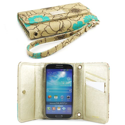 JAVOedge Turquoise Poppy Clutch Wallet Case with Wristlet for the Samsung Galaxy S4
