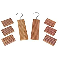 Huji Natural Cedar Wood and Moth Mildew Repellent Blocks and Protects Clothes (Two Set, Cedar Hanger and Blocks)