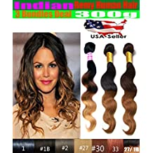 "Best Selling uSTAR 3 Bundle Indian Body Wave Hair Weave Extension - Tip-Dyed Two-Tone #4/#30 Color - 100% Human Hair - 18""20""22"""