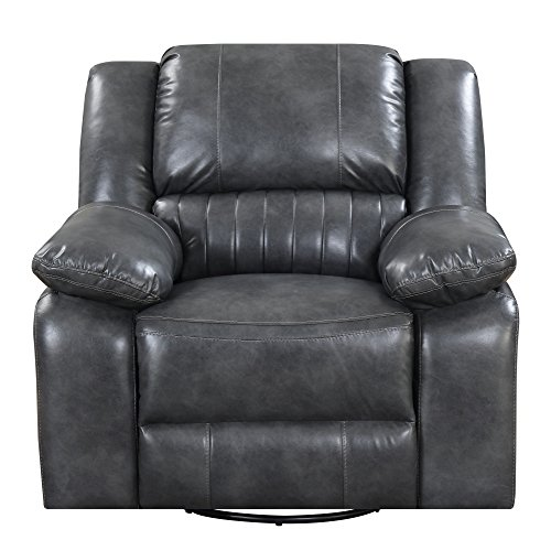 Artum Hill UP15-543 Austin Reclining Charcoal Gray with Swivel Glider, Faux Leather Upholstery, and Pillow Top Back ()