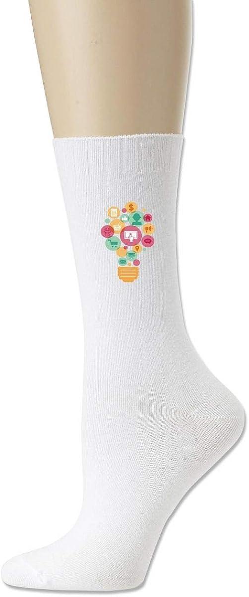 Women High Ankle Cotton Crew Socks Light Bulb Casual Sport Stocking