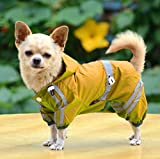 Pet supplies for Cat and Dog, for Large Dog, PAWZ Road Large Dog Raincoat Button Design With Waterproof Pocket And Adjustable Waist 3 Colors 6 Sizes ( Color : Yellow , Size : XL )