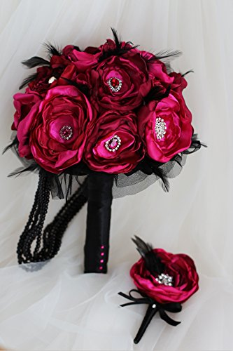 IFFO Ruby Red Wedding Brooch Bouquet Handmade Fabrics Organza & Black Feather Bridal Bouquet Wine Red Rose Bridal Cloth Bouquets (Groom boutonniere)