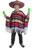 CHILDS MEXICAN BOY FANCY DRESS COSTUME PONCHO WILD WEST BANDIT KID - CHILDRENS STRIPED PONCHO FOR FANCY DRESS