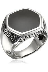 Men's Stainless Steel Black Resin with Greek Pattern Ring