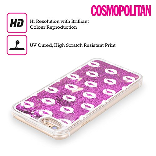 Official Cosmopolitan Silver Kiss Mark Purple Liquid Glitter Case Cover for Apple iPhone 5c