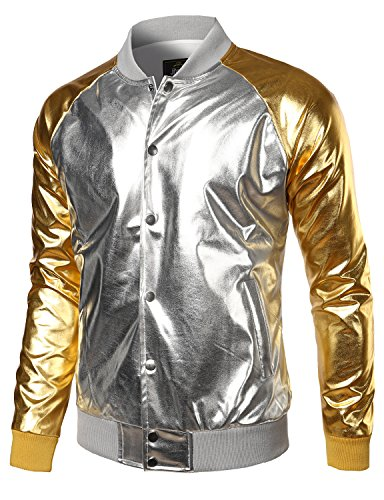 JOGAL Mens Metallic Nightclub Styles Button Down Varsity Baseball Bomber Jacket Medium Silver ()
