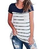 Imily Bela Women's Short Sleeve Colorblock Lace Patch Pocket T Shirt Tees