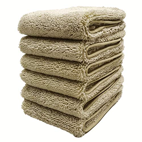 (Polyte Premium Lint Free Microfiber Washcloth Face Towel, 13 x 13 in, Set of 6 (Beige) )