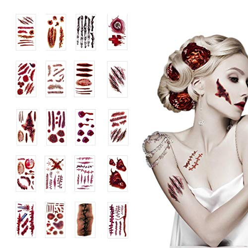 (SHANGXING 20 Pcs Halloween Zombie Fake Scars Tattoos Bloody Costume Makeup Scary Injury)
