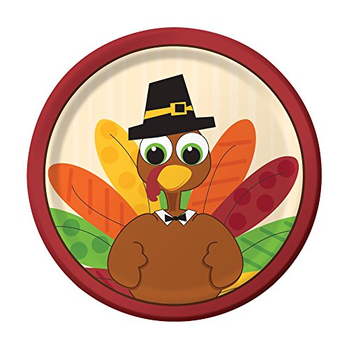 Creative Converting 8 Count Sturdy Style Paper Lunch Plates 7  Turkey Fun  sc 1 st  Amazon.com & Turkey Paper Plates: Amazon.com